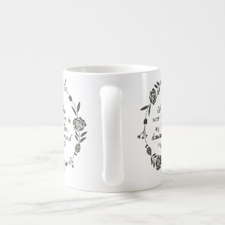 Rose Leaf Tulip floral black and white Coffee Mug