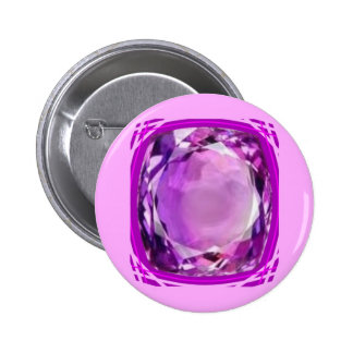 Rose Lilac Amethyst Gemstone by SHARLES 6 Cm Round Badge