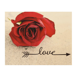 Rose love wood wall art wood print