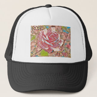 """Rose Lover"" Digital Pink Flower Painting Trucker Hat"