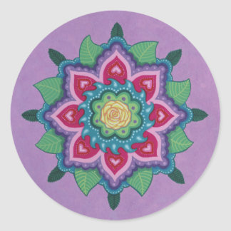 Rose Mandala by Soozie Wray Round Sticker