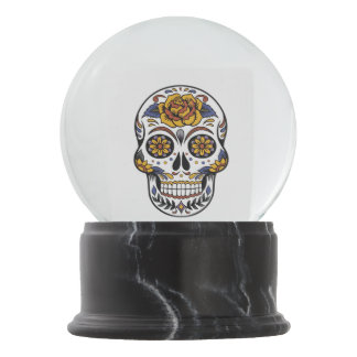 Rose Mexican Sugar Skull Day of the Dead Snow Globe