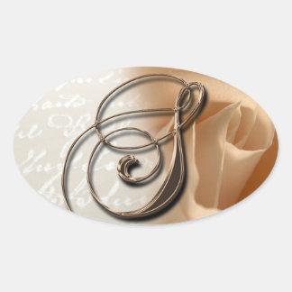 Rose Monogram S Oval Wedding Favor Seals