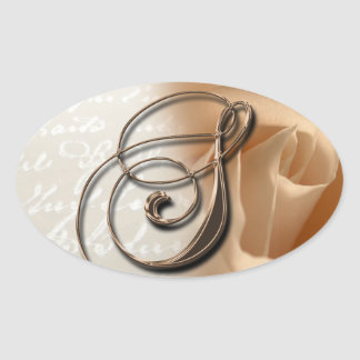 Rose Monogram S Oval Wedding Favor Seals Oval Sticker
