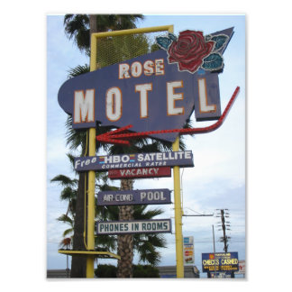 Rose Motel Neon Sign Photo Print
