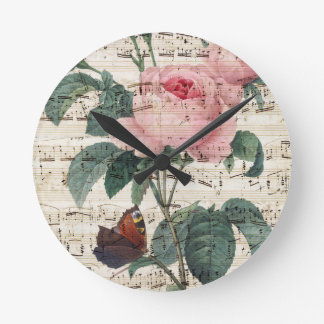Rose Music Round Clock