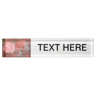 rose n baby breath blotched flower design name plates