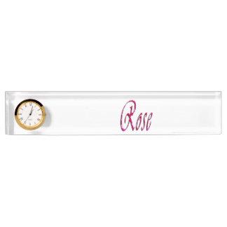Rose, Name, Logo, Desk Nameplate With Clock.