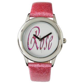 Rose, Name, Logo, Girls Pink Glitter Watch. Wristwatches