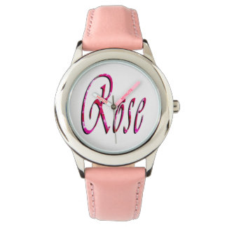 Rose, Name, Logo, Girls Pink Leather Watch. Watch