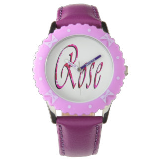 Rose, Name, Logo, Girls Purple Bows Leather Watch. Wrist Watches