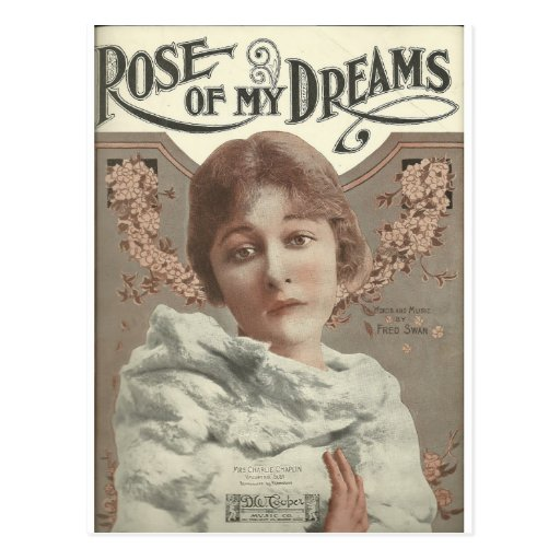 rose of my dreams mrs charlie chaplin postcards