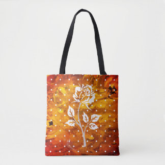 Rose on amber background tote bag