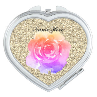 Rose On Gold Glitter Compact Mirrors