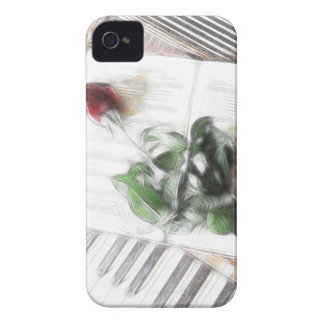Rose on Piano Keyboard Fractal iPhone 4 Case-Mate Cases