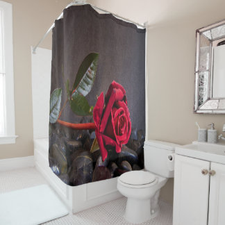 Rose On The Rocks Shower Curtain