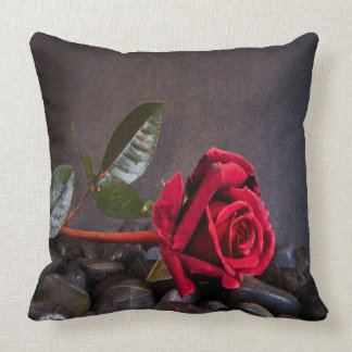 Rose On The Rocks Throw Pillow