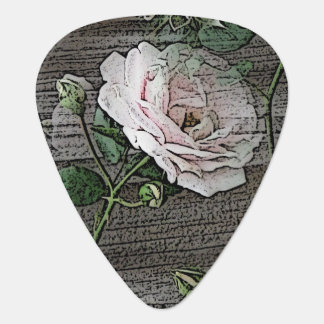 Rose on Weathered Wood Guitar Pick