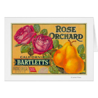 Rose Orchard Pear Crate Label Card