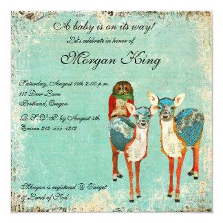 "Rose Owl & Azure Deer Baby Shower Invitation 5.25"" Square Invitation Card"