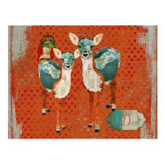 Rose Owl & Azure Deer Monogram Grunge  Postcard