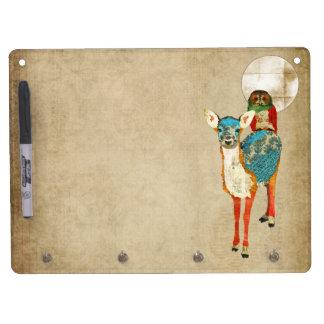 Rose Owl & Azure Fawn Full Moon Dry Erase Board