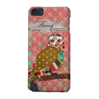 Rose Owl Damask Name Plate iPod Case iPod Touch 5G Covers
