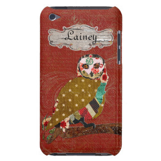 Rose Owl Damask Name Plate iPod Case iPod Touch Cases