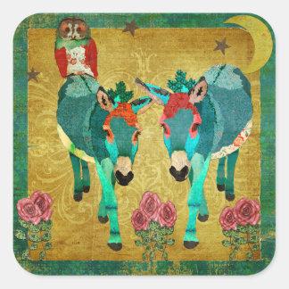 Rose Owl & Donkeys Golden Twilight Square Sticker