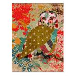 Rose Owl Floral Postcard