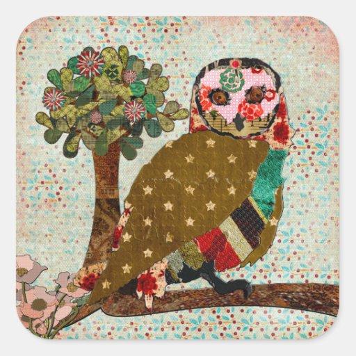 Rose Owl Floral  Sticker