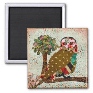 Rose Owl Floral Vintage Magnet