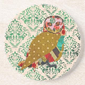Rose Owl Green Damask  Coaster