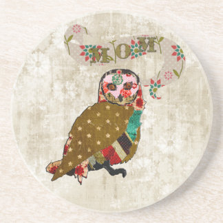 Rose Owl Mom White Floral Coaster