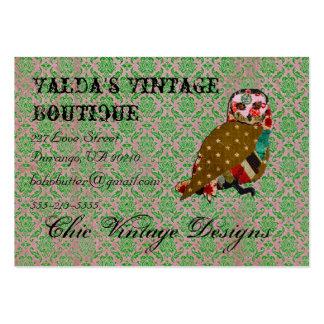 Rose Owl Pink & Jade Elegant Damask Business Card