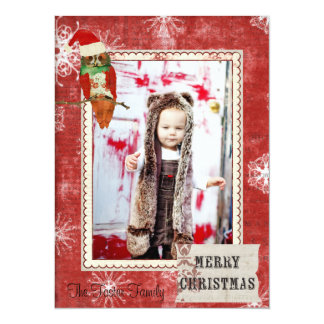 Rose Owl Red Christmas Photo Card 14 Cm X 19 Cm Invitation Card