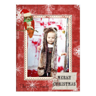 Rose Owl Red Christmas Photo Card