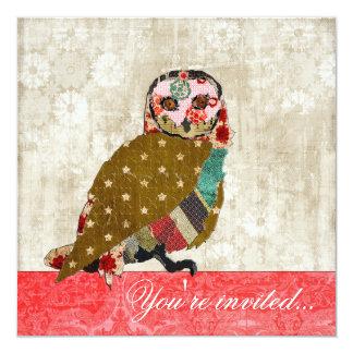 "Rose Owl Red & White Vintage Invitation 5.25"" Square Invitation Card"