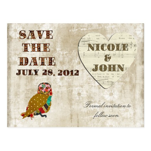 Rose Owl Save the Date White Floral Vintage Postca Postcard