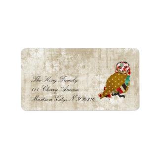 Rose Owl Whitewash Floral Vintage  Label Address Label