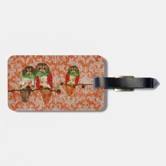 Rose Owls Amber Damask Luggage Tag