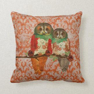 Rose Owls Amber Damask  MoJo Pillow Cushion