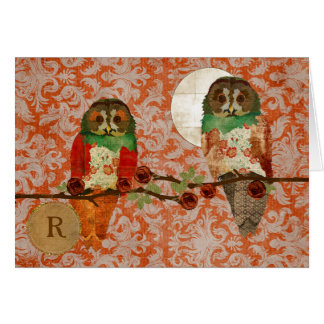 Rose Owls Amber Damask Monogram Notecard Greeting Cards