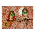 Rose Owls Amber Damask Monogram Notecard Note Card