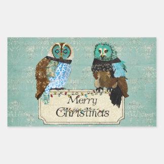 Rose Owls Merry Christmas Sticker