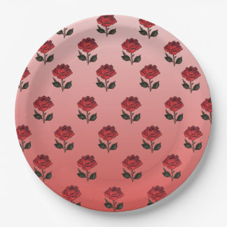 Rose Pattern Paper Plate