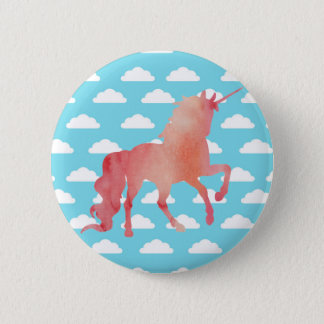 ROSE PEACH WATERCOLOR UNICORN WITH CLOUDS 6 CM ROUND BADGE