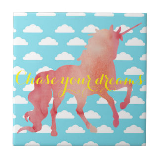 ROSE PEACH WATERCOLOR UNICORN WITH CLOUDS CERAMIC TILE