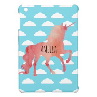 ROSE PEACH WATERCOLOR UNICORN WITH CLOUDS iPad MINI COVER