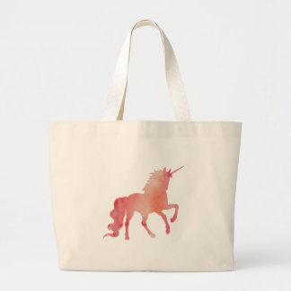 ROSE PEACH WATERCOLOR UNICORN WITH CLOUDS LARGE TOTE BAG